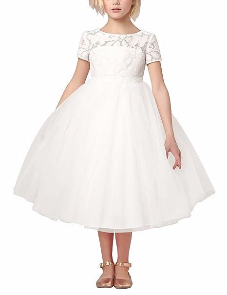 YIZYIF Vestido Niñas 2-14 Años Princesa Blanco Mangas Cortas Vestido De Ceremonia Fiesta Cumpleaños