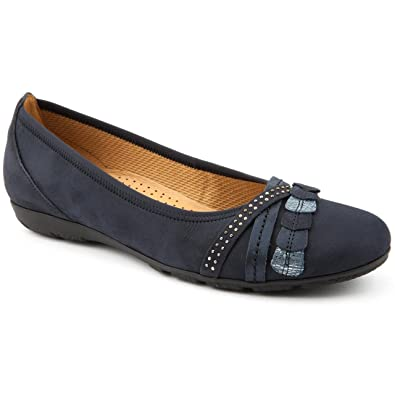3b50b8d35f2bf Gabor Ladies Ashmill Navy Casual Flat Shoes: Amazon.co.uk: Shoes & Bags