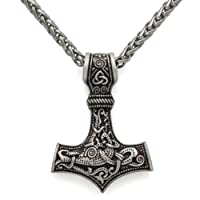 LoveInDec Odin Thor's hammer mjolnir pendant viking necklaces pendants jewelry scandinavian Clear Details Silver Chain