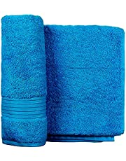 AlKhaligia Group Egyptian Cotton Solid Pattern,Turquoise - Bath Towels