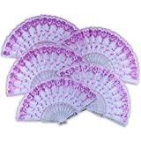 "Just Artifacts 9"" White w/ Decorative Sequin Embroidery Folding Silk Hand Fans (Set of 5, Baby Pink)"
