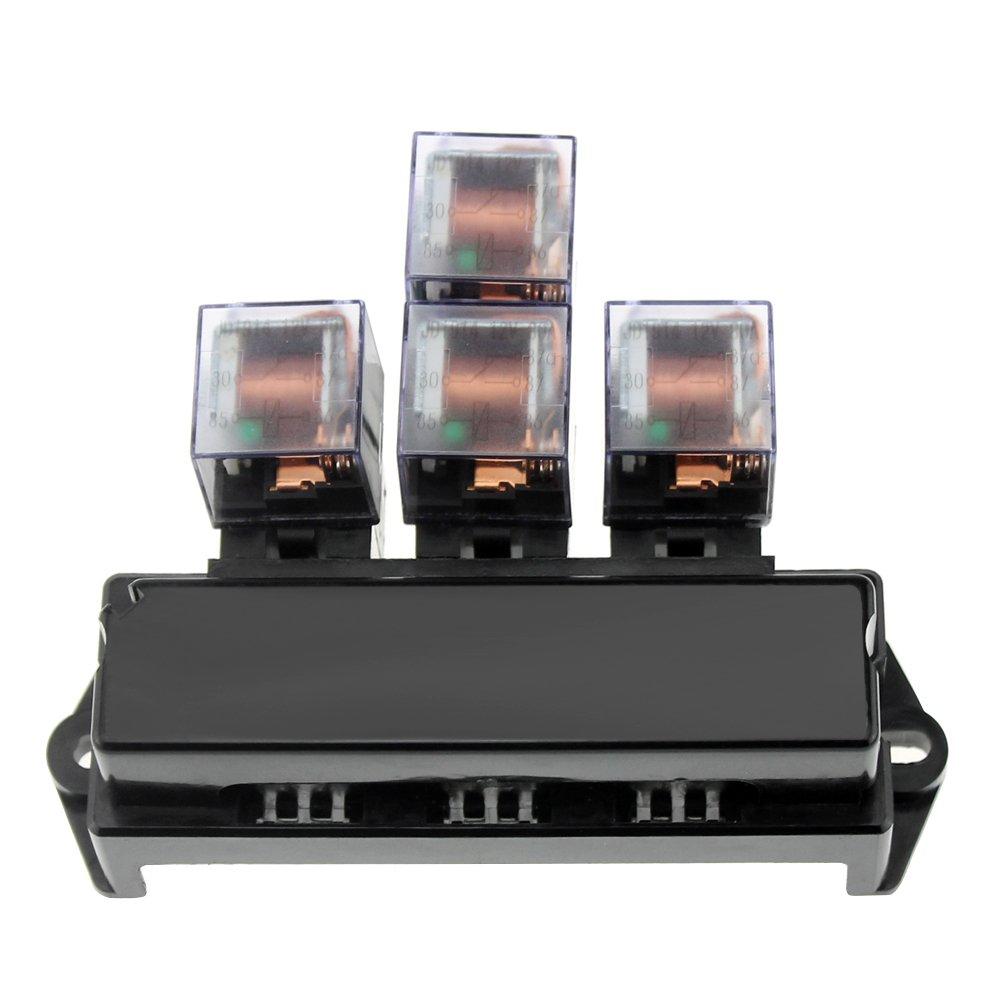 Walmeck 5-Pin Sockel Sicherungshalter10 Fach Sicherungskasten Block Universal 13 St/ücke Standard Flachsicherungen