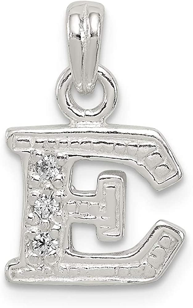 Solid 925 Sterling Silver CZ Cubic Zirconia Initial E Pendant