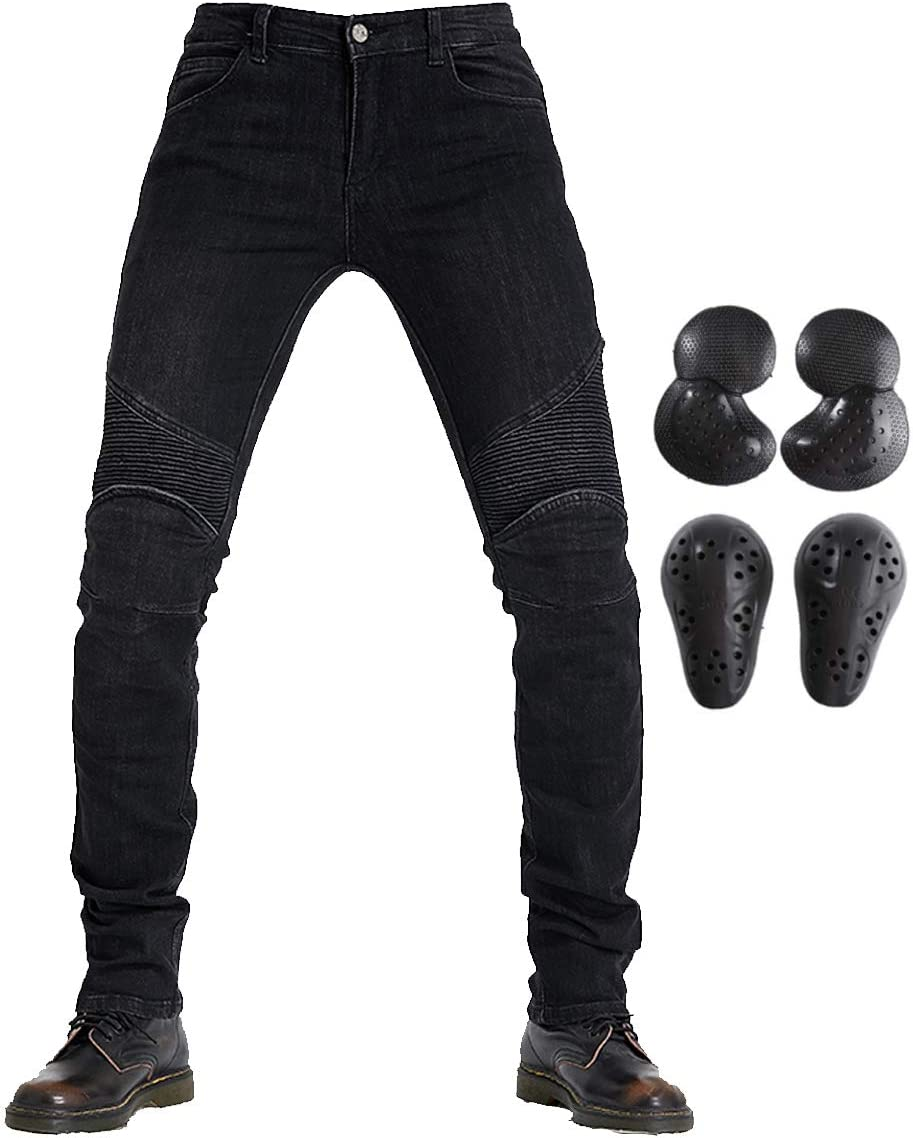 =Waist 36, Blue XL Takuey Biker Jeans for Men Motorcycle Riding Pants Reinforce with Aramid Protection Lining 34