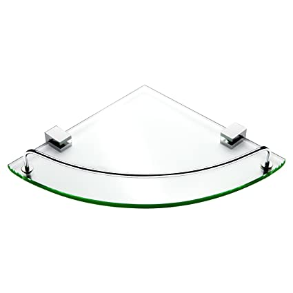 Amazon.com: VDOMUS Bathroom Tempered Glass Corner Shelf, Stainless ...