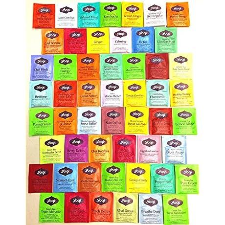 PowerTea Medley Gift Box Yogi Tea Variety 50 Tea Bags With Power For Apple Honey Sticks