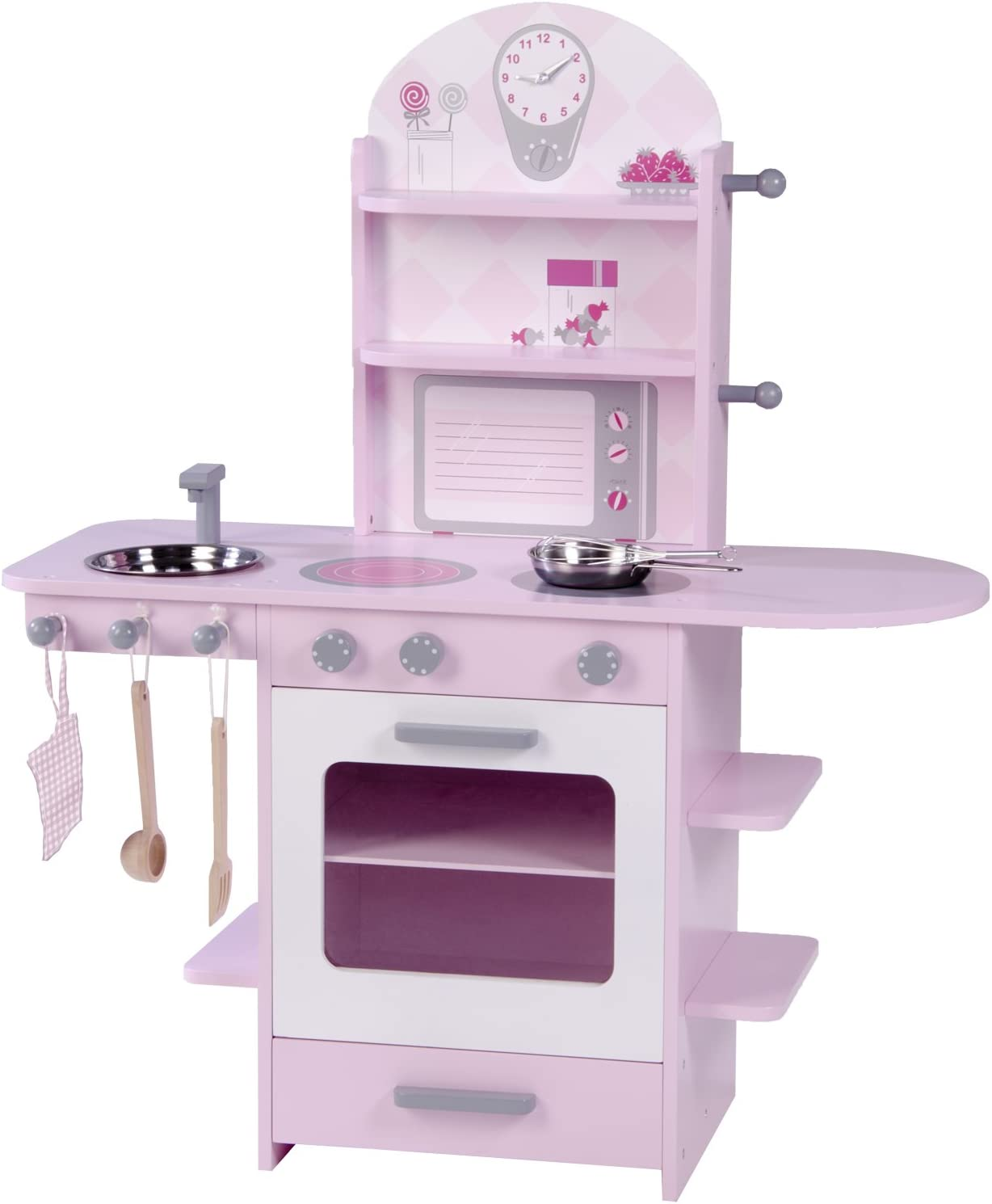Roba Play Kitchen Wooden Kitchen Pink Girl Children's Kitchen with Stove, Sink, Faucet & Shelf with Accessories