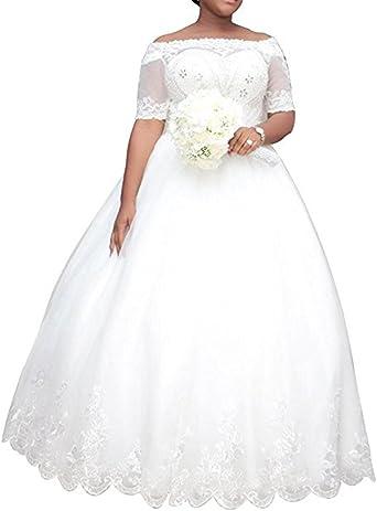 WeddingDazzle Women\'s Plus Size Wedding Dresses for Bride Ball Gown Bridal  Dress