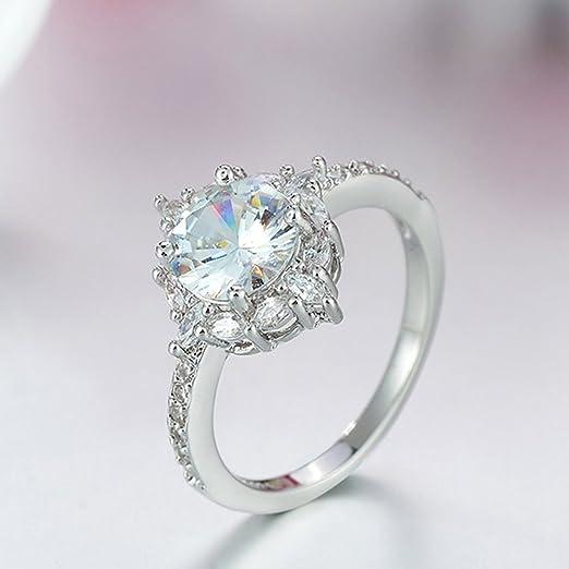 Anillo de compromiso con incrustaciones redondas y grandes anillos de diamante, anillo de compromiso, anillo de mujer, anillo de moda, anillo de boda, anillo moderno 9# plata: Amazon.es: Hogar