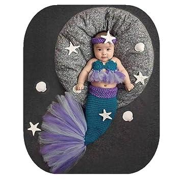682cb3bb054ec Newborn Baby Boy Girl Photo Shoot Props Outfits Crochet Knit Cute Purple  Mermaid Bra Tail Outfits