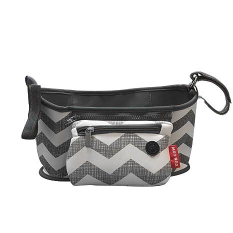 Carro de Bebé cochecitos Bolsa Organizador cesta bolsa de lona para cochecito portavasos ondulado negro carry
