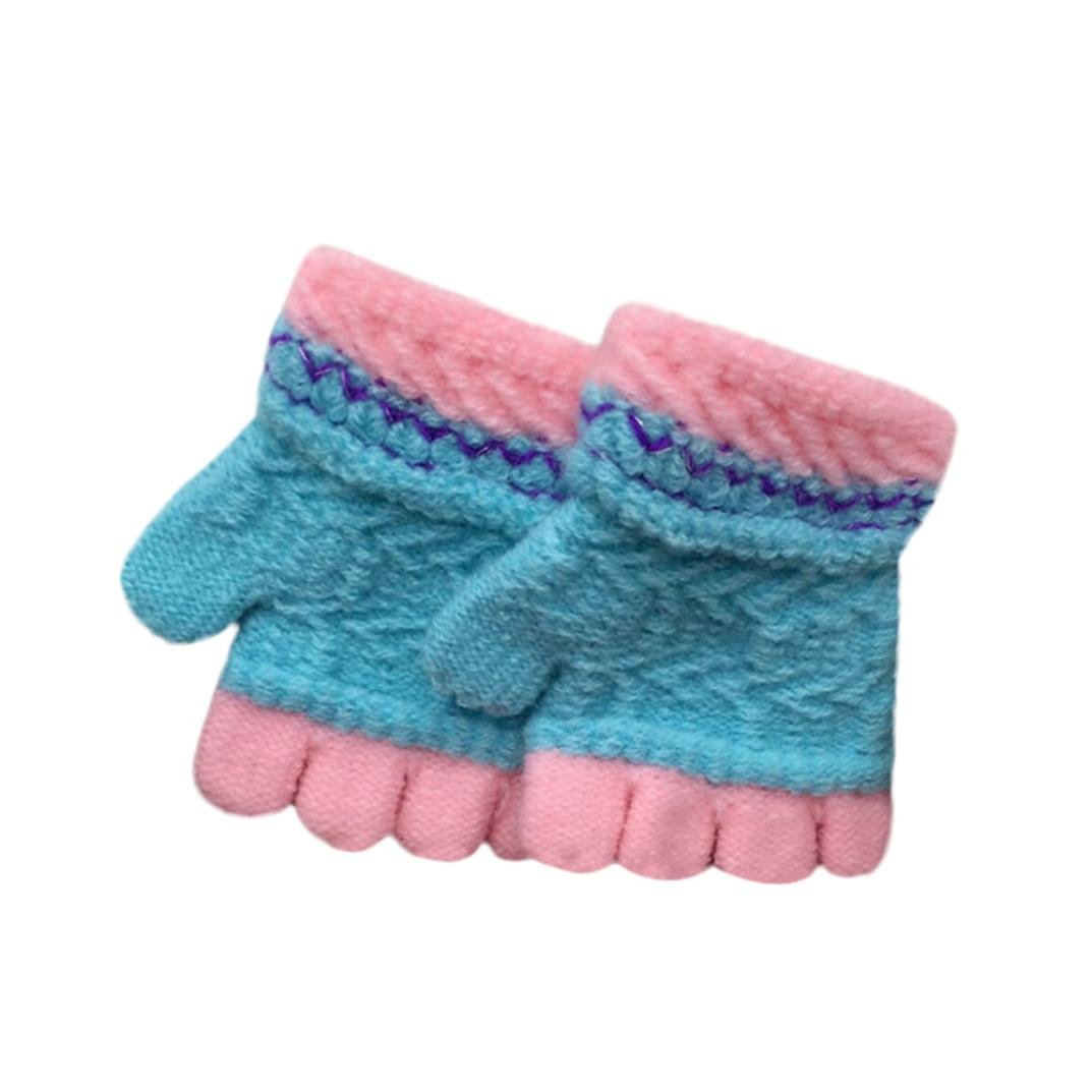 Minshao Toddler Baby Girls Boys Cute Thicken Patchwork Winter Warm Gloves For 1-7 Years old