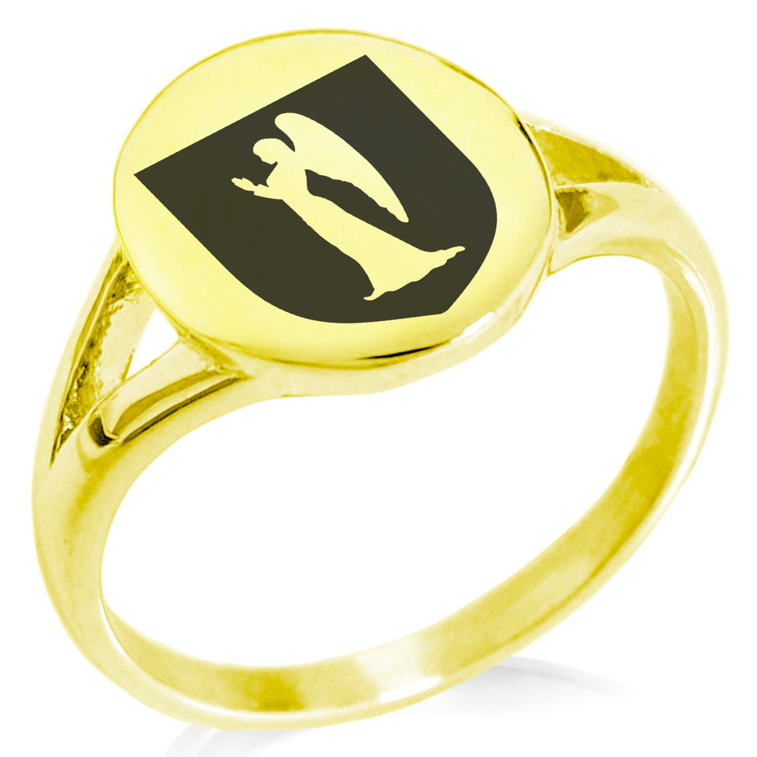 Tioneer Gold Plated Stainless Steel Angel Divinity Coat of Arms Shield Symbol Minimalist Oval Top Polished Statement Ring, Size 10