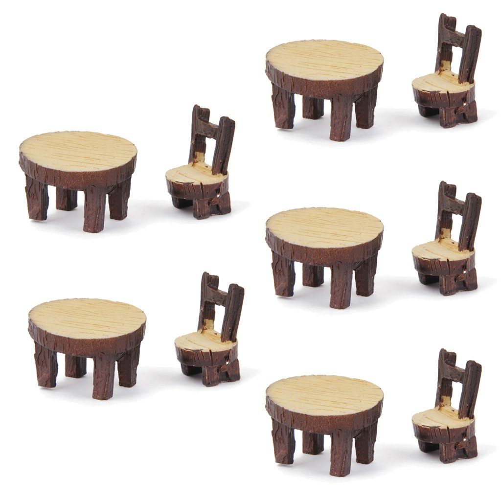 5 Sets of Miniature Resin Chair Table Micro Landscape Bonsai Dollhouse Decor Generic FMISSACGHJH835
