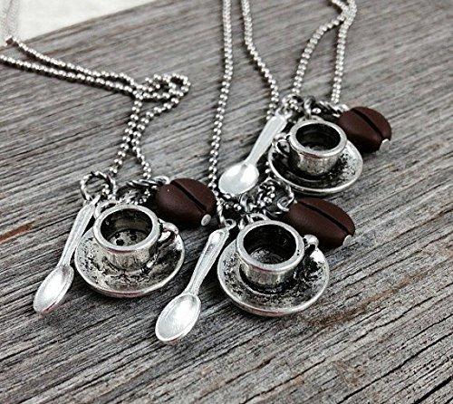 Coffee Necklace, Coffee Bean Necklace, Coffee Lovers Necklace, Coffee Jewelry, Coffee Bean Jewelry, Coffee Gifts for Mom, Gift for Coffee Lovers Gift