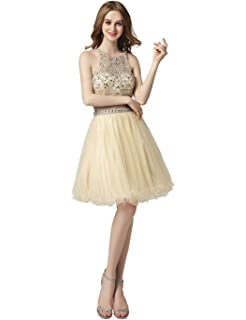 Sarahbridal 2018 Women Fashion Two Piece Prom Dress Homecoming Gowns Tulle Short Party Dress for Teenagers