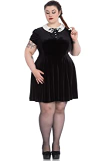 4452e1d833ce8b Hell Bunny Plus Size Gothic Wednesday Addams Spiderweb Miss Muffet Mini  Dress