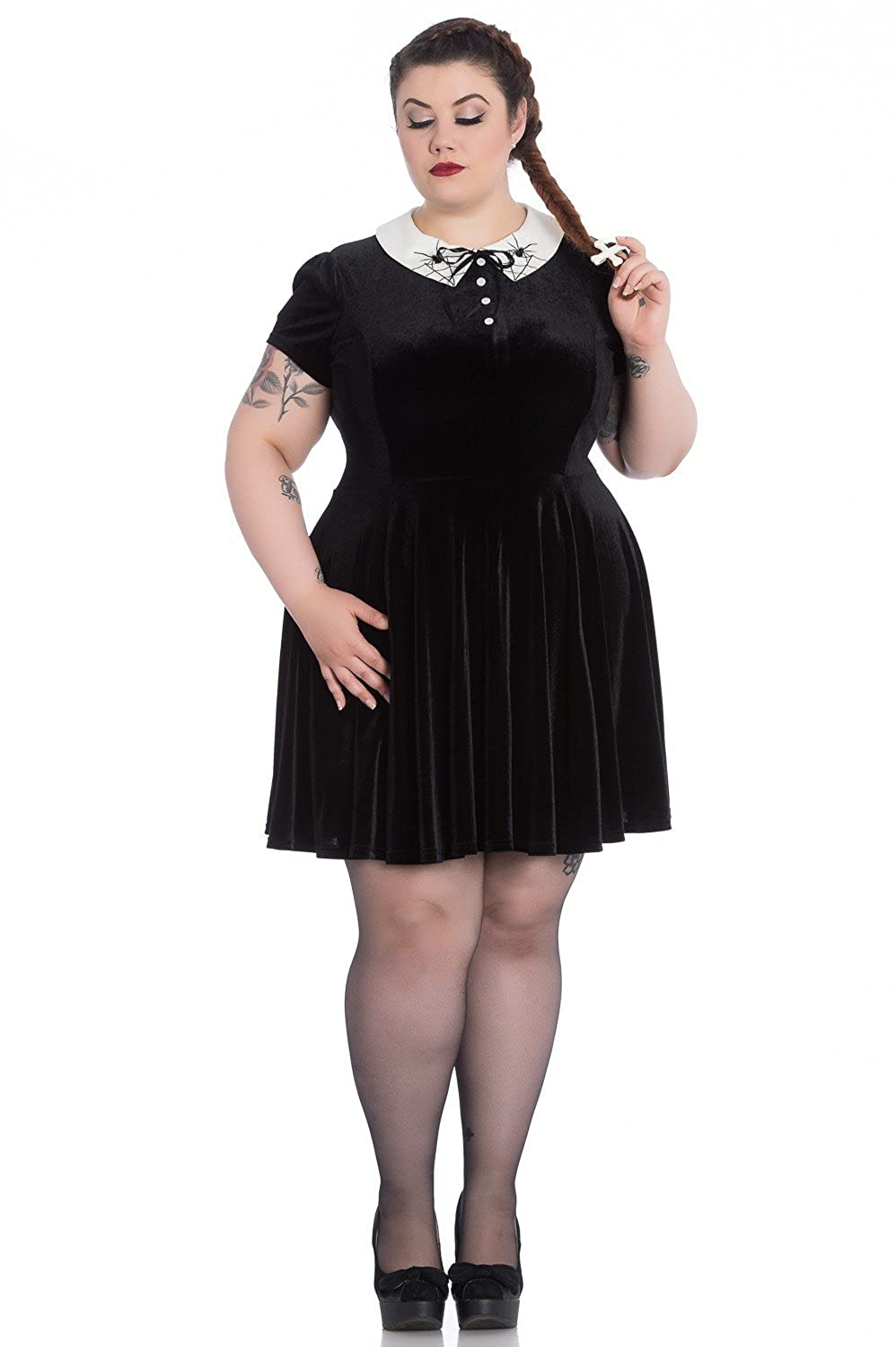 40c5025859d Hell Bunny Plus Size Gothic Wednesday Addams Spiderweb Miss Muffet Mini  Dress at Amazon Women s Clothing store