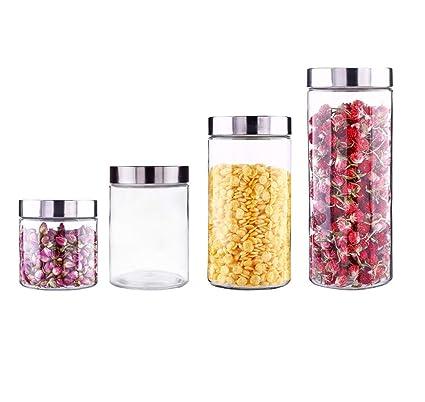 RSTJ-Sjkw Especias Frascos 4 Redondas Vidrio Transparente Especias Botellas con Plata Metal Tapas Herméticamente