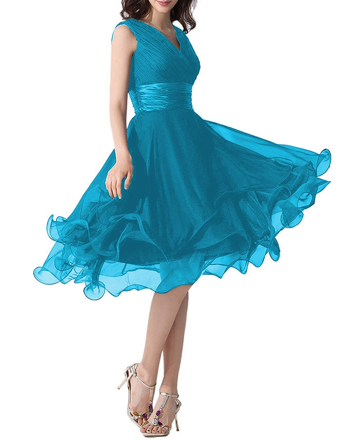 bluee Monalia Women's Tulle Tea Length Prom Dresses Formal Evening Gown P152