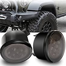 TURBO SII Pair Amber Front LED Turn Signal Light Assembly for 2007~2016 Jeep Wrangler JK Turn Lamp Fender Flares Eyebrow Indicator Side Maker Parking Lights Bulb Smoke Lens