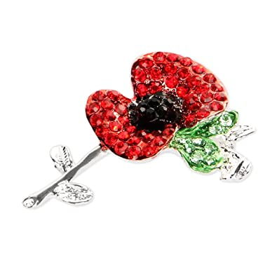 Valdler Fashion Jewelry Silver Plated Tone Rhinestone Crystal Large Red Poppy Brooch Pin
