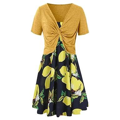 Gusspower Mujer Vestido Verano Impresión de limón Bohemia ...