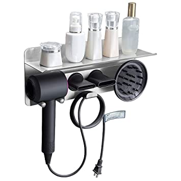 Home Soporte para secador de cabello montado en la pared con estante especialmente diseñado para el secador de pelo ...