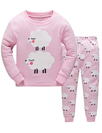 7cd0b09f1b 104-134 Mädchen Schlafanzug Pyjama Schaf Sleepwear Langarm Hausanzug  Baumwolle Kinder Nachtwäsche