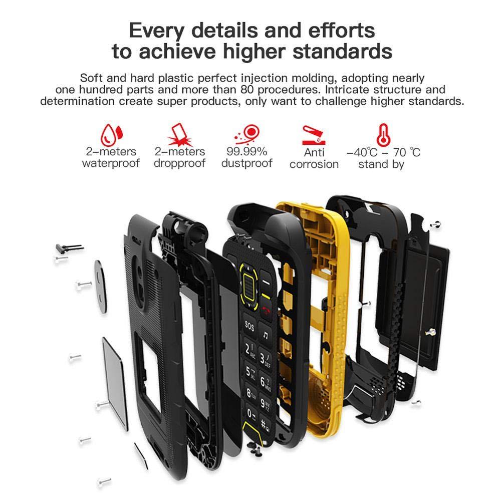 T/él/éphone Clapet Portable D/ébloqu/é,T/él/éphone /étanche IP68 Robuste Noir Dual SIM Double Veille,Double /écran avec T/él/éphone Portable SOS Big Button FM Flip Dock De Chargement
