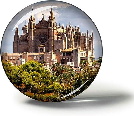 Hqiyaols Souvenir España Palma Mallorca Catedral Imanes Nevera Refrigerador Imán Recuerdo Coleccionables Viaje Regalo Circulo Cristal 1.9 Inches: Amazon.es: Hogar