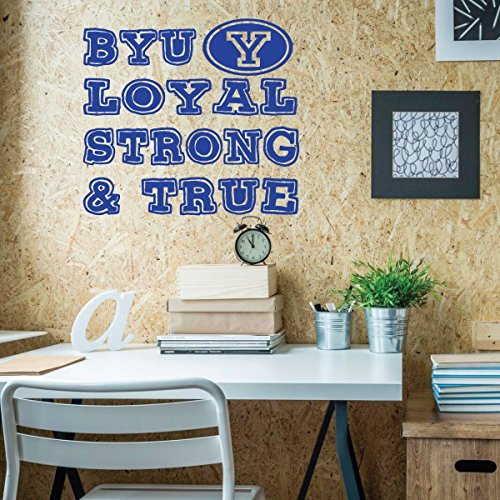 BYU Decal - Loyal Strong and True - Wall Decals for Home Decor, Bedroom, Playroom, Study Area or Dorm Room - Brigham Young University Graduation (Go Industries Black Powder)