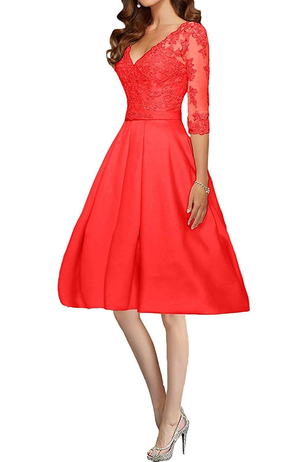 Red ZLQQ Vintage Satin Applique Short Bridesmaid Dresses Half Sleeves Formal Evening Wedding Gown