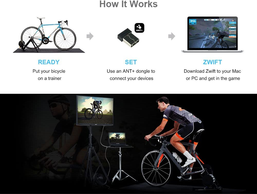Dongle with 6ft CooSpo USB ANT Extension Cable Compatible with Zwift TrainerRoad Wahoo Garmin Cycleops Trainer Rouvy TacX Sufferfest PerfPRO
