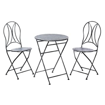 Anya Nana - Juego de Mesa y sillas Plegables de Hierro con ...