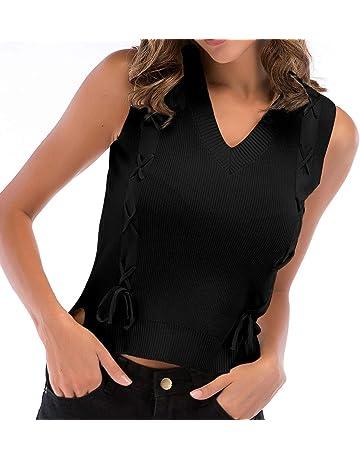 beautyjourney Chaleco de Punto Delgado para Mujer Camisetas sin Mangas con Cuello en Pico Blusa Camisa