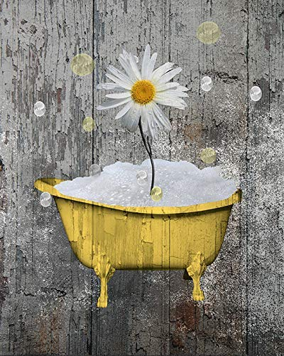 Rustic Farmhouse Country Yellow Bathroom Wall Art, Daisy Flower, Bubbles Rustic Theme Bath (8x10 Inch Print With 11x14 Inch White Mat) Goes inside any stardard 11x14 inch Picture Frame