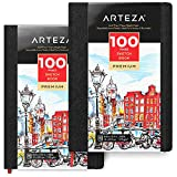 ARTEZA 8.3x11.7'' Sketch Book, Pack of 2 Notebooks, 100 Pages per Pad, 118lb/175gsm, Hardcover Journals with Bookmark Ribbon, Expandable Inner Pocket, and Elastic Strap, for a Variety of Dry Media