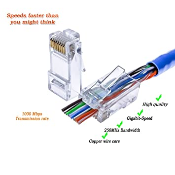 ez rj45 cat 5 5e connector improved connection and performance rh amazon com RJ11 Wiring-Diagram Cat 6 RJ45 Wiring-Diagram