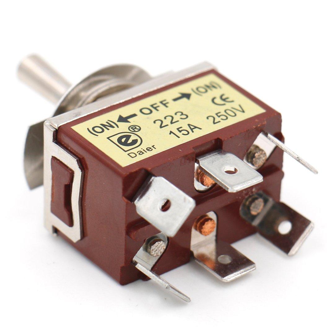 On //Off// 3/Position 15/A 250/VAC 6/Tab Terminal CE heschen Metall Kippschalter DPDT Momentary On