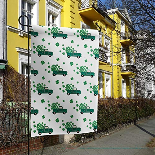 Happy St. Patrick's Day Welcome Garden Flag Green Trucks with Lucky Clover Leaves Decorative Holiday Flags Yard Flag House Banners for Indoor Outdoor/Outside Home Decor Double Side Printed 12x18inch ()