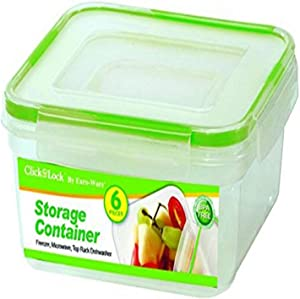 Euro-Ware 6 Piece Click and Lock Stay Fresh Square Storage Containers with Lids, Clear