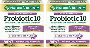 Nature's Bounty Ultra Strength Probiotic 10 Twin Pack, Immune and Upper Respiratory Health, 60 Count Pack of 2