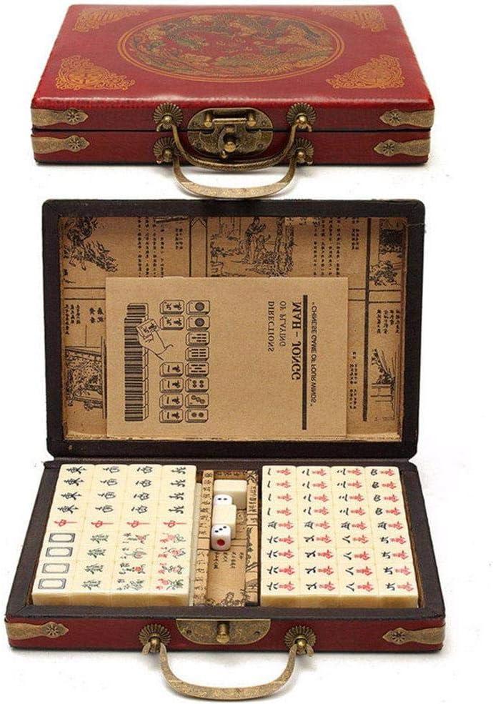circulor Chinese Mahjong Set 144 Tiles Mah-Jong Set Portable Chinese Toy with Box