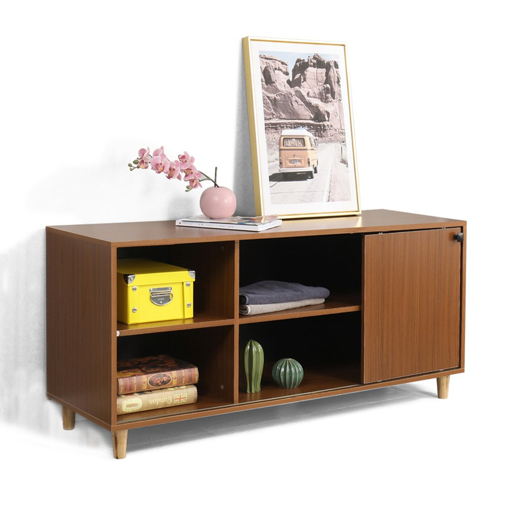 DlandHome TV Stand 53'', Composite Wood Board, 2-Shelf & 2-Cube & 1-Door Entertainment Center Console Storage Cabinet for Living Room Bedroom, WK-GZ002-RM Red-Maple, 1 Pack
