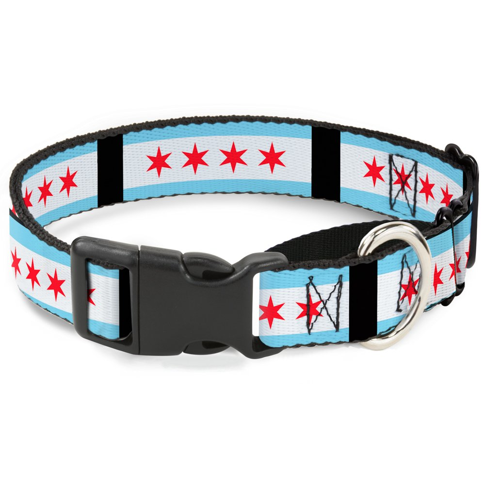 Buckle Down ''Chicago Flags/Martingale Dog Collar, Black, 1.5'' Wide-Fits 13-18'' Neck-Small