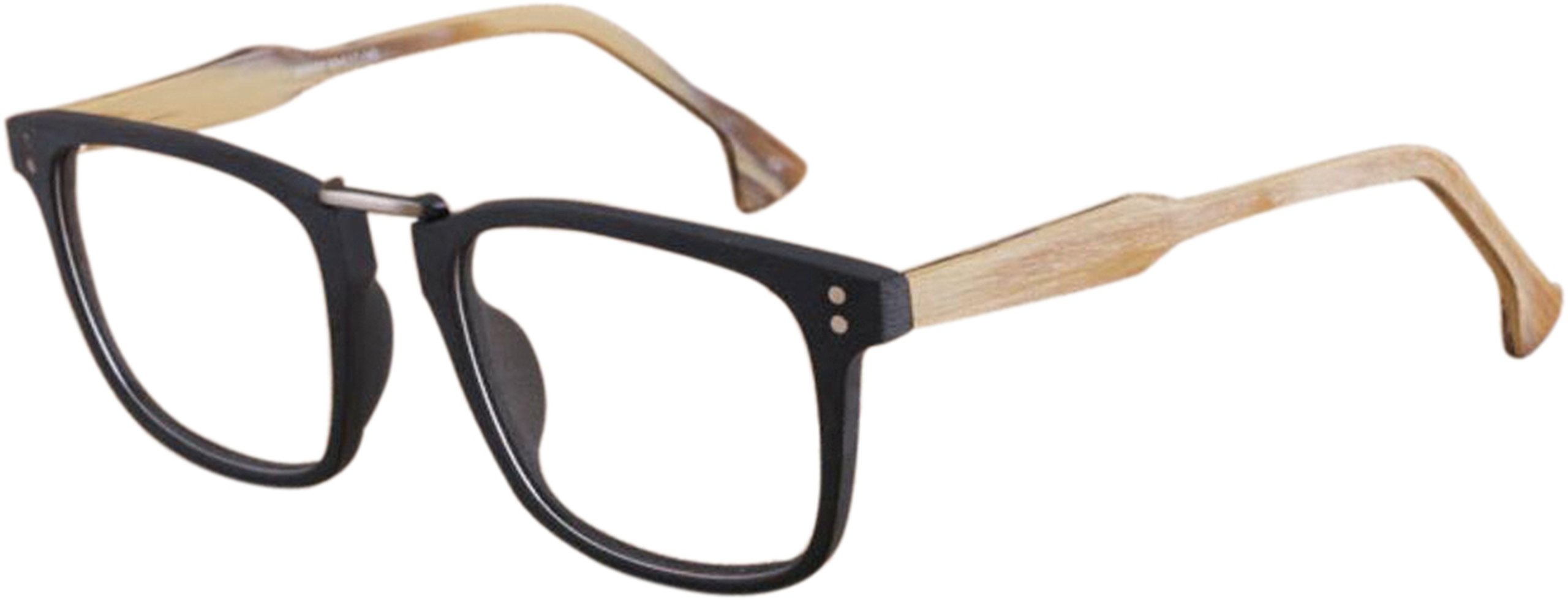 J&L Glasses Vintage Classic Full Frame Wood Grain Unisex Glasses Frame (Black/Brown, clear) by J&L Glasses