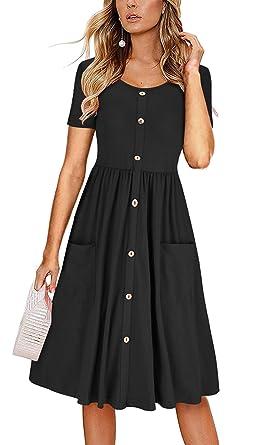2b7da53e0 iGENJUN Women's Short Sleeve V Neck Button Down A-line Dress with Pockets,S
