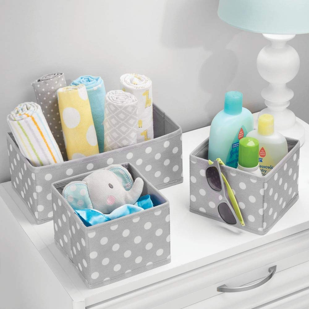 Nursery Bedroom Organizing Bins in 2 Sizes mDesign Soft Fabric Dresser Drawer and Closet Storage Organizer for Kids//Toddler Room Herringbone Print Blue Set of 6 Playroom