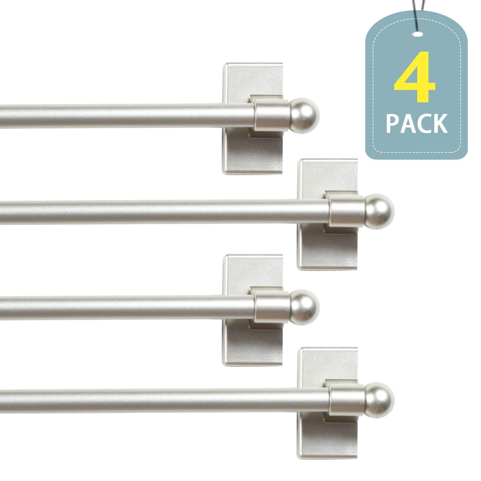 H.VERSAILTEX Wide Use Adjustable Appliance Magnetic Rods for Valances and Hand Towels, Petite Ball Ends, 16 to 28 Inch, Nickel, 1/2 Inch Diameter, 4 Packs by H.VERSAILTEX